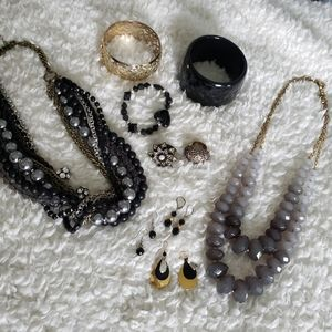 Jewelry - Black and Gold Assorted Mixed Jewelry Lot